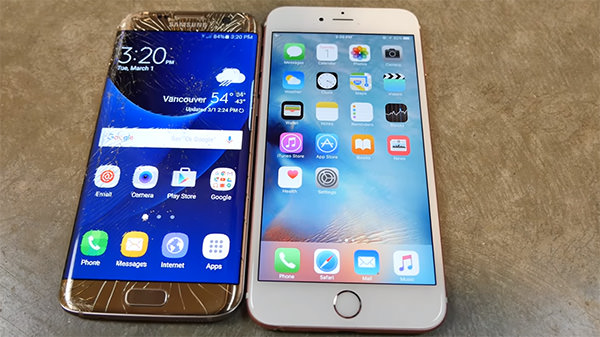 Drop test per iPhone 6S contro Samsung Galaxy S7 Edge